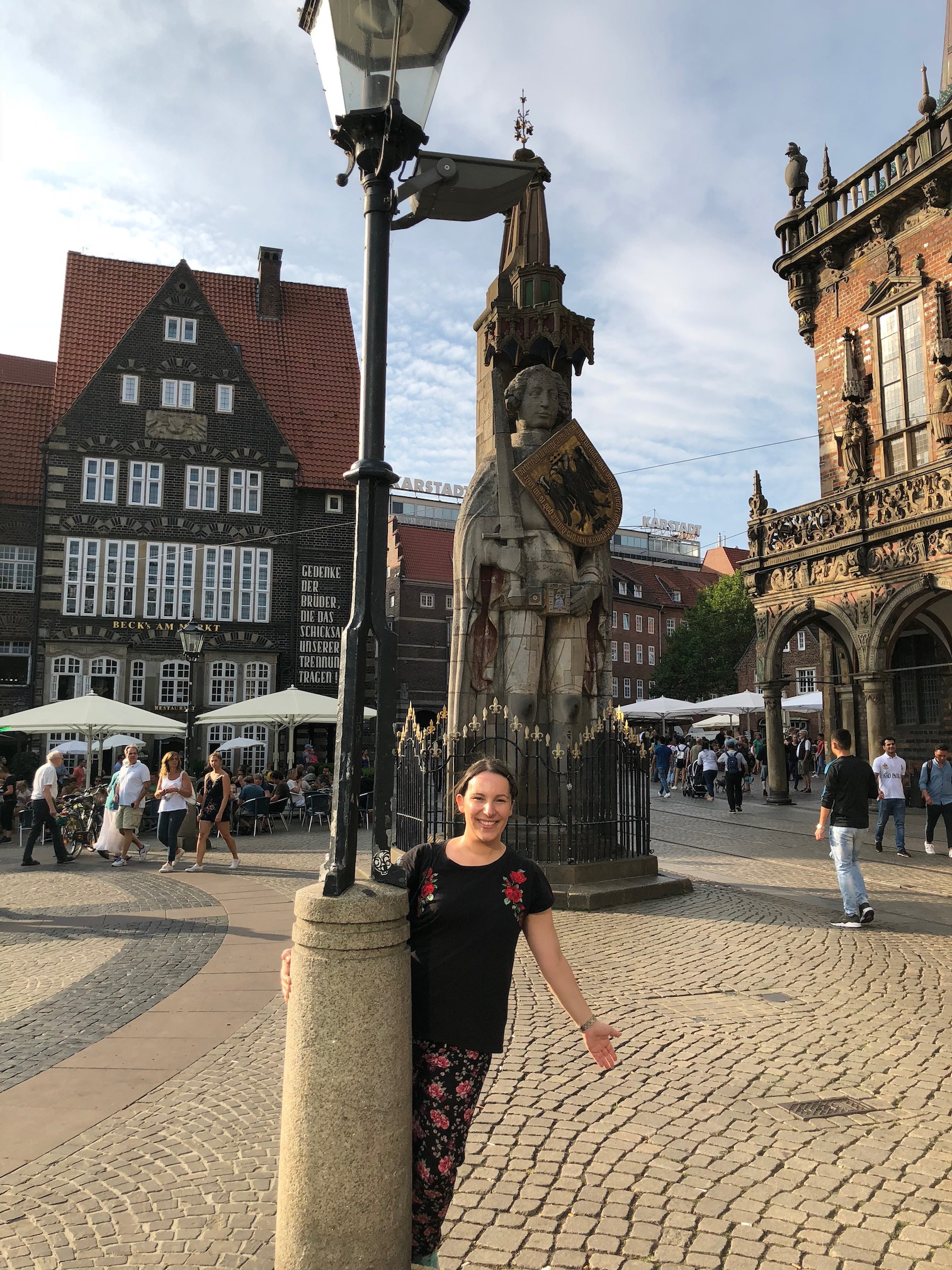 Roland statue and me in summer_Photo Copyright Sonja Irani_RevisitGermany.com
