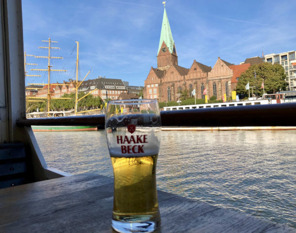 Haake Beck beer, a sub brand of Beck's, and the river Weser in the back.