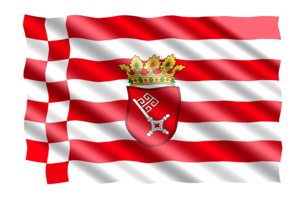 Bremen flag with the key showing to the left. Photo by Pixabay | jorono